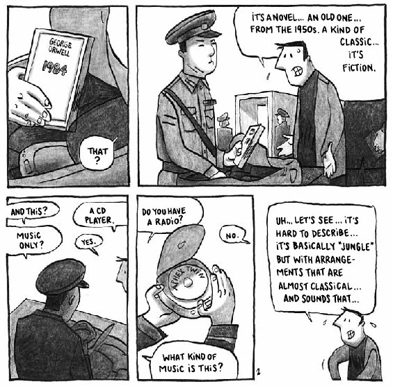 An extract from the second page of Guy Delisle's Pyongyang