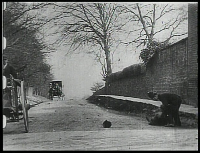 A still from the early silent film Daring Daylight Burglary, shot in Western Sheffield.