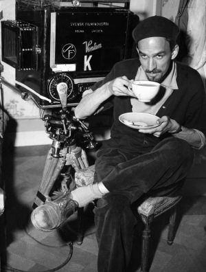 Old Ingmar Bergman Having a Cup of Joe